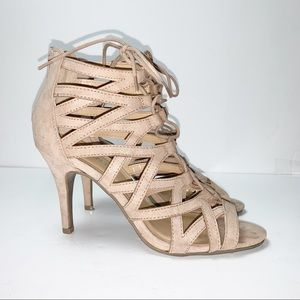 Report | Tan/Blush Lace-up Front Sandals | 9